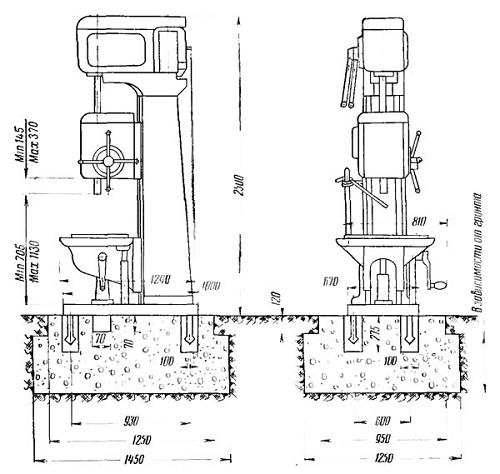 Габариты сверлильного станка 2А135