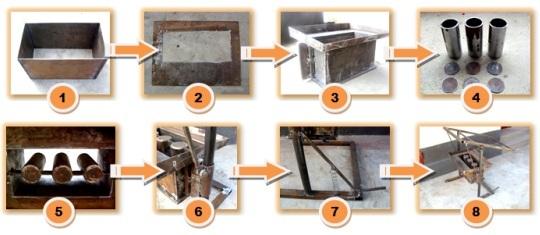 Схема этапов изготовления станка для шлакоблоков своими руками