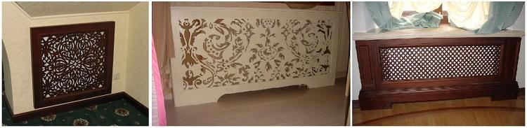 Пример использования готовых изделий из фанеры для декорирования радиаторной ниши