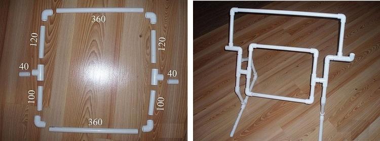 Детали и их размеры для создания рамы для ткацкого станка из пластиковых труб
