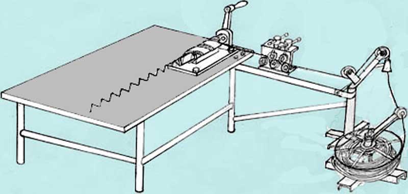 Схема плетения рабицы на ручном станке