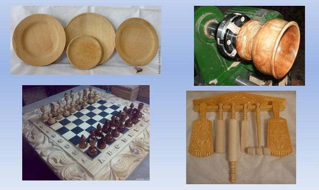 Изделия изготовленные на школьном токарном станке по дереву