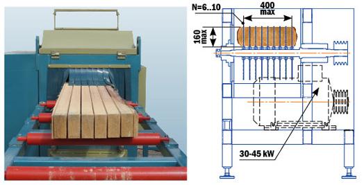 Обработка бруса в многопильном станке