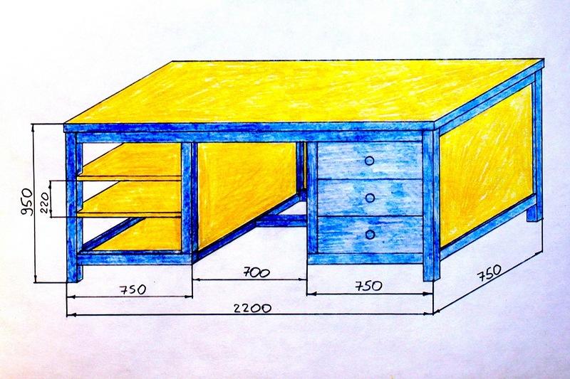 Верстак в гараж размеры